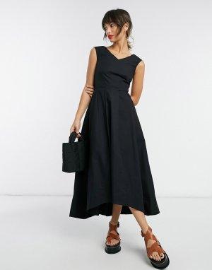 Черное плиссированное платье миди асимметричного кроя с V-образным вырезом -Черный цвет Closet London