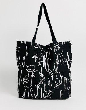 Большая хлопковая сумка с абстрактным принтом -Черный ASOS DESIGN