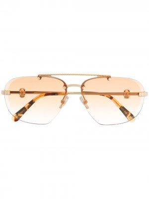 Солнцезащитные очки-авиаторы с декором Skull Philipp Plein. Цвет: желтый