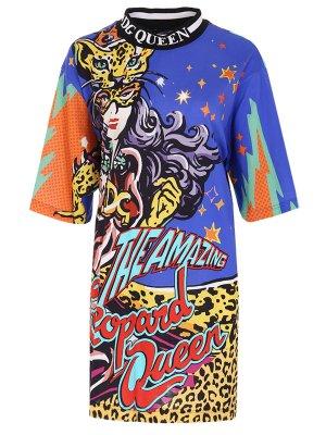 Платье-футболка с принтом DOLCE & GABBANA. Цвет: разноцветный
