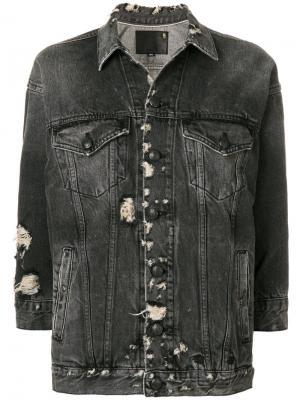 Состаренная джинсовая куртка R13. Цвет: чёрный