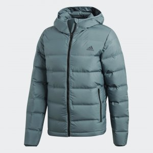 Пуховик Helionic Hooded Performance adidas. Цвет: зеленый