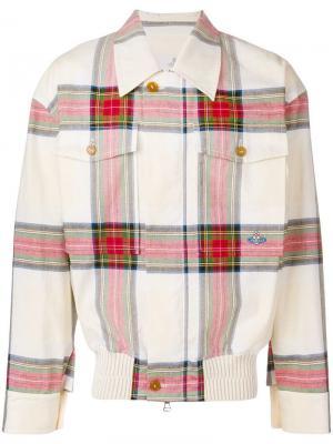 Джинсовая куртка-бомбер в клетку Vivienne Westwood. Цвет: разноцветный