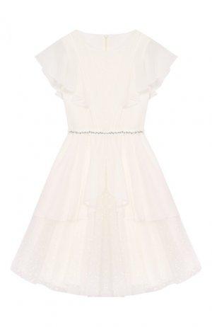Платье с поясом Aletta. Цвет: белый