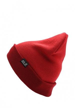 Шапка Jack Wolfskin RIB HAT. Цвет: красный