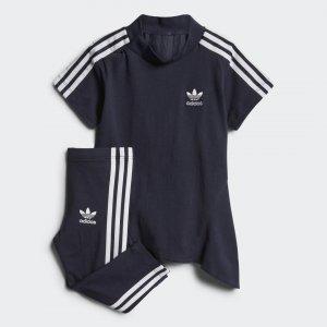 Комплект: платье и леггинсы Pleated Originals adidas. Цвет: белый