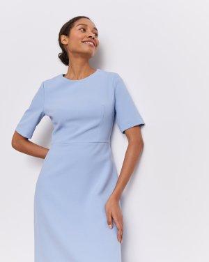 Платье приталенное с коротким рукавом 12STOREEZ. Цвет: голубой