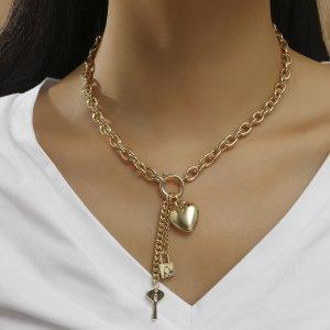 Ожерелье сердечко & замок и ключ SHEIN. Цвет: золотистый