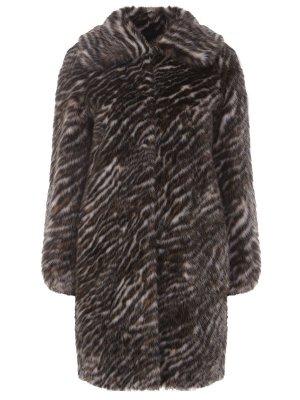 Пальто-дафлкот меховое MICHAEL KORS. Цвет: разноцветный