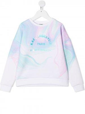 Толстовка с логотипом Karl Lagerfeld Kids. Цвет: белый