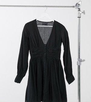 Черное чайное платье мини из жатого материала на пуговицах с присборенной талией ASOS DESIGN Tall-Черный Tall