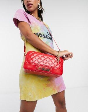Небольшая красная стеганая сумка -Красный Love Moschino