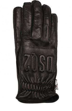 Кожаные перчатки Dsquared2. Цвет: черный