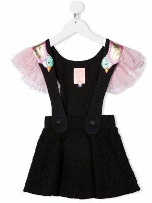 Платье с узором и оборками WAUW CAPOW by BANGBANG. Цвет: черный