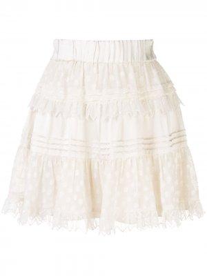 Многослойная юбка Yakira в горох Alexis. Цвет: белый
