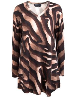 Удлиненный пуловер из шерсти Salvatore Ferragamo. Цвет: коричневый