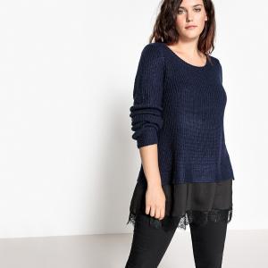Пуловер из плотного трикотажа с круглым вырезом CASTALUNA. Цвет: фиолетово-розовый