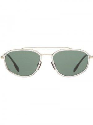 Солнцезащитные очки Navigator в геометричной оправе Burberry Eyewear. Цвет: белый