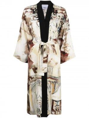 Venice-print kimono Erika Cavallini. Цвет: нейтральные цвета
