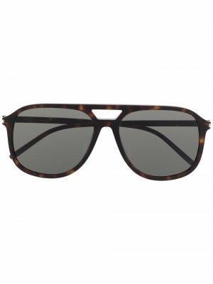 Солнцезащитные очки-авиаторы черепаховой расцветки Saint Laurent Eyewear. Цвет: коричневый
