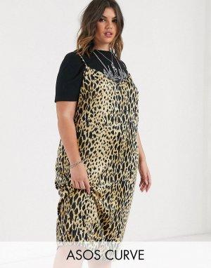 Платье-комбинация миди с леопардовым принтом ASOS DESIGN Curve-Мульти Curve