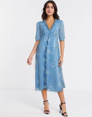 Синее чайное платье на пуговицах -Синий Gestuz