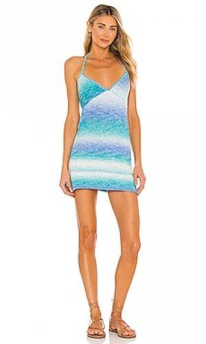 Вязаное мини платье debbie Frankies Bikinis. Цвет: синий