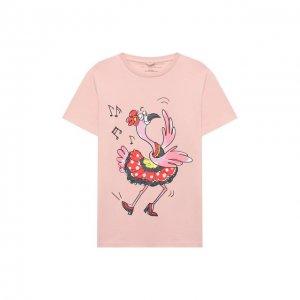 Хлопковая футболка Stella McCartney. Цвет: розовый
