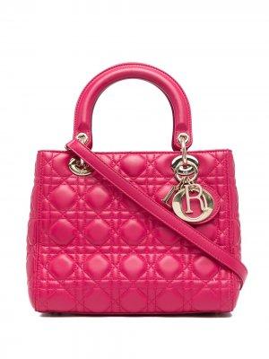 Сумка Cannage Lady Dior pre-owned 2010-го года Christian. Цвет: красный