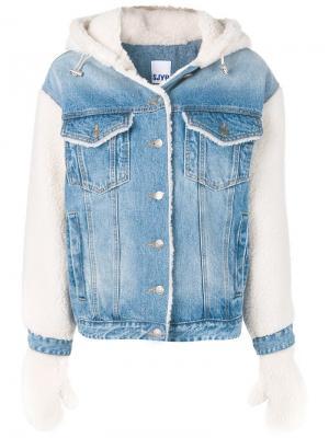 Джинсовая куртка с отделкой из искусственного меха SJYP. Цвет: синий