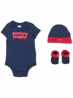 Levis Kids комплект из боди, шапки и пинеток с логотипом Levi's. Цвет: синий