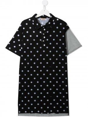 Платье-рубашка с принтом Nº21 Kids. Цвет: черный