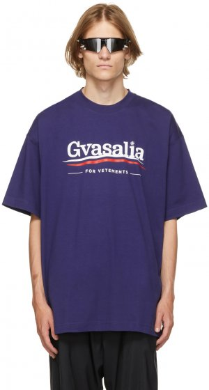 Navy Gvasalia T-Shirt VETEMENTS. Цвет: royal blue