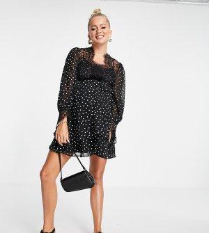Приталенное платье мини из мягкого материала с монохромным принтом в горошек, свободной юбкой и отделкой кружевом ресничками ASOS DESIGN Maternity-Multi Maternity