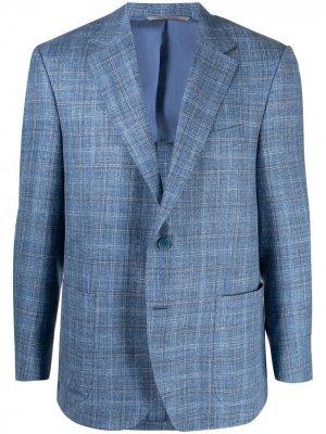 Пиджак в клетку Canali. Цвет: синий