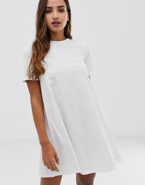 Платье-футболка мини ASOS DESIGN. Цвет: белый