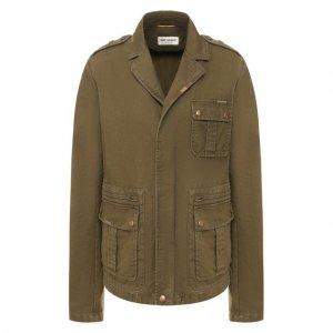 Хлопковая куртка Saint Laurent. Цвет: хаки