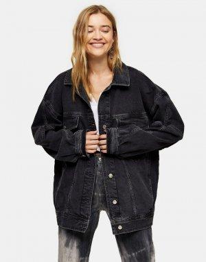 Черная выбеленная джинсовая куртка в винтажном стиле размера XL -Черный цвет Topshop
