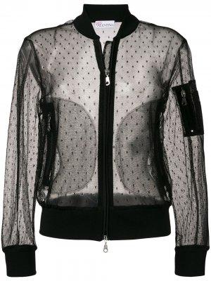 Полупрозрачная куртка-бомбер RED Valentino. Цвет: черный