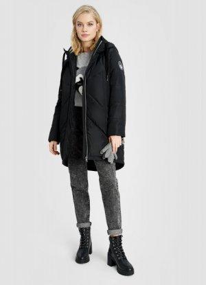 Утепленная длинная куртка с капюшоном O`Stin. Цвет: черный