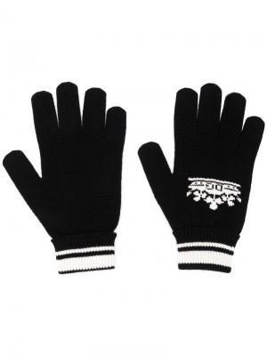 Перчатки с логотипом вязки интарсия Dolce & Gabbana. Цвет: черный