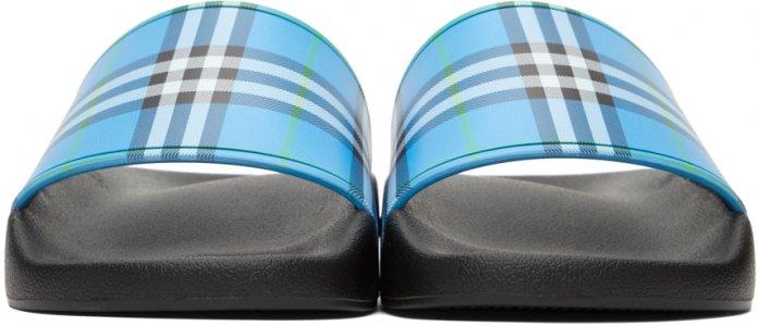 Blue Check Slides Burberry. Цвет: blue azure