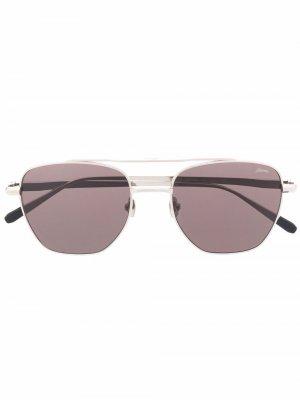 Солнцезащитные очки в квадратной оправе Brioni. Цвет: серебристый