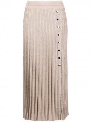Плиссированная юбка на кнопках D.Exterior. Цвет: нейтральные цвета