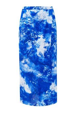 Юбка-карандаш на запах из хлопка джерси ALEXANDER TEREKHOV. Цвет: голубой