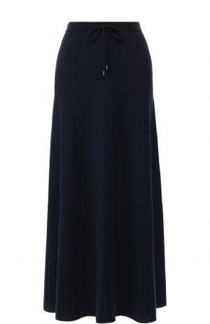 Кашемировая юбка-миди с эластичным поясом Loro Piana. Цвет: темно-синий