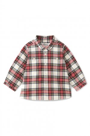 Хлопковая рубашка в клетку Mico1 Bonpoint. Цвет: красный