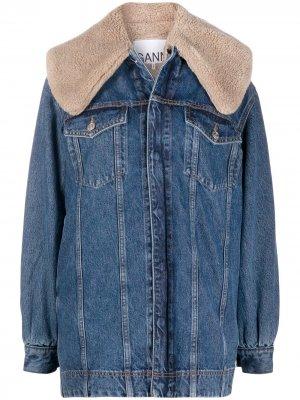 Джинсовая куртка оверсайз GANNI. Цвет: синий