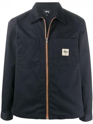 Куртка на молнии с нашивкой-логотипом Stussy. Цвет: синий