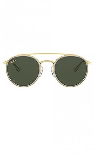 Солнцезащитные очки round double bridge Ray-Ban. Цвет: metallic gold,green